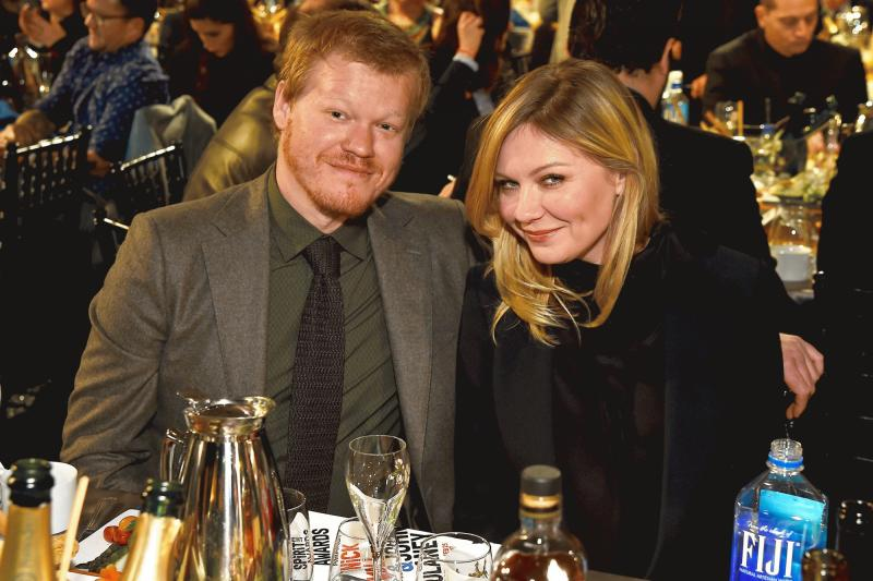 Kirsten Dunst and Jesse Plemons photographed as an engaged couple for the first time at the 2017 Independent Spirit Awards.