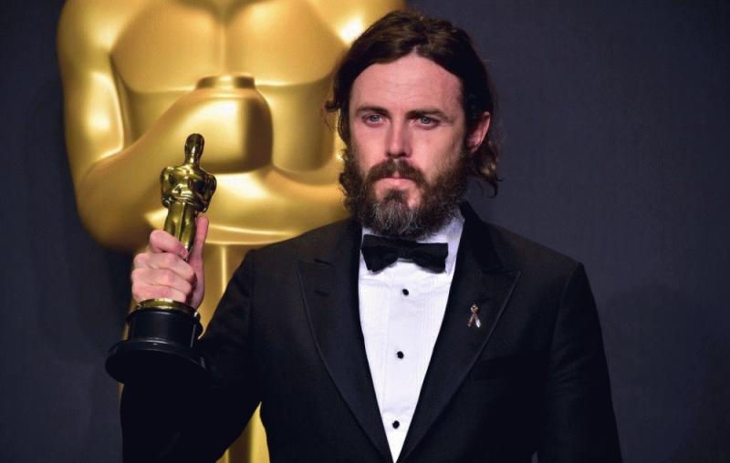 Casey Affleck photographed during his acceptance speech at the recently held Academy Awards.