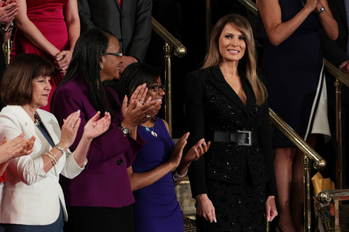 Melania Trump photographed wearing a Michael Kors dress.
