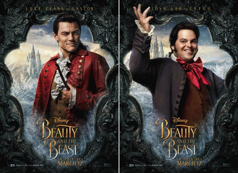 "Luke Evans as Gaston and Josh Gad as LeFou in the promo photos for the live action remake of ""Beauty and the Beast."""