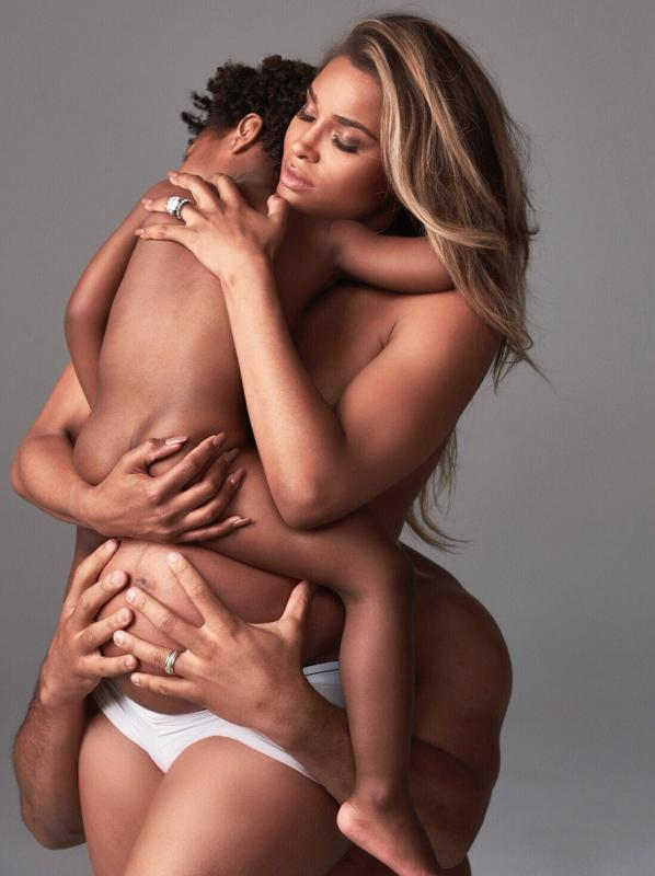 A photo showing the maternity shoot of Ciara with her son and husband.