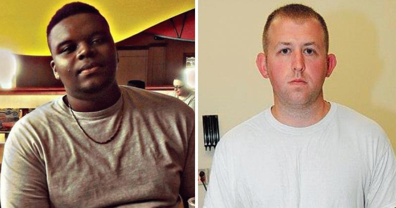 Michael Brown and the officer who shot him dead in two undated photos.