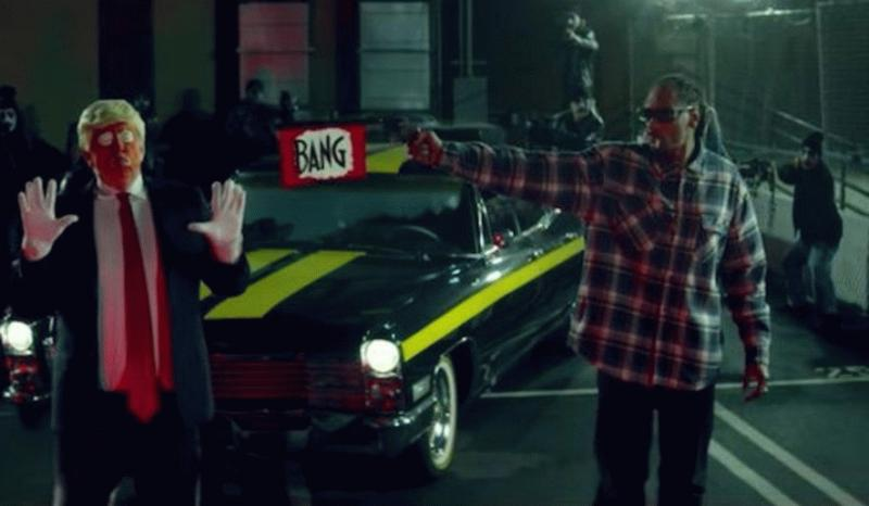 A screen grab from the video of Snoop Dogg showing him shooting a Donald Trump clown.