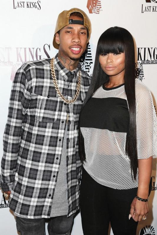 Blac Chyna and Tyga photographed together when they were still engaged. .
