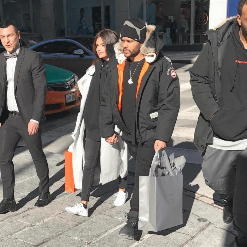 Selena Gomez and The Weeknd photographed strolling in Toronto.